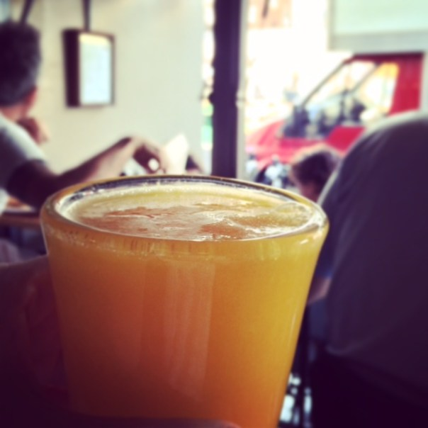 A delicious fresh orange juice with my brother at the Electric Diner on Saturday morning