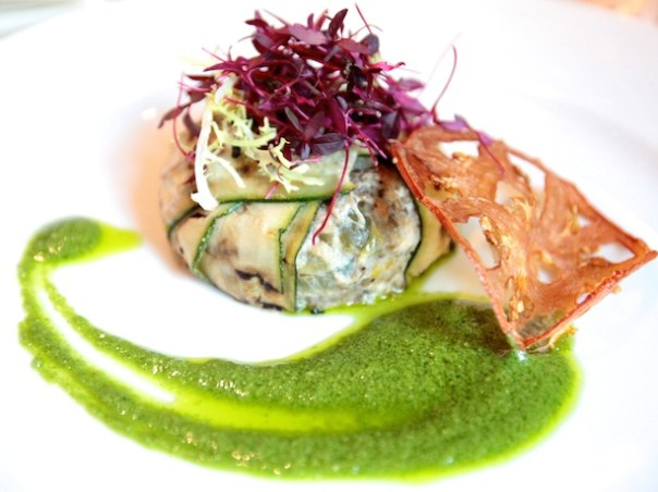 Aubergine, courgette and cheese timbal, with rustic green sauce