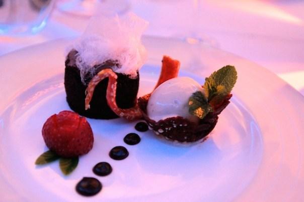 Dark chocolate fondant with vanilla ice cream