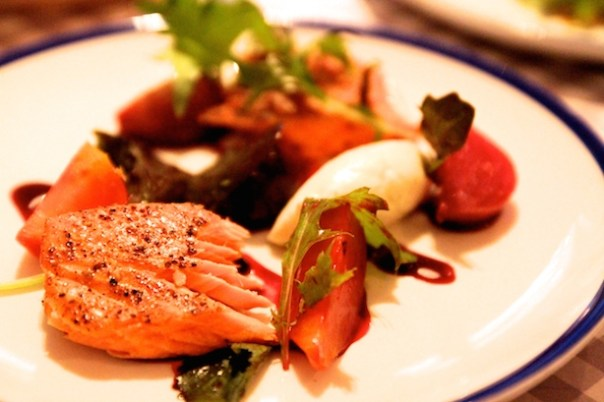 Roast Peppered Inverawe Trout, Baby Beetroots, Tarragon Cream, Beetroot Dressing - Bonnie Seagull Seafood Cafe