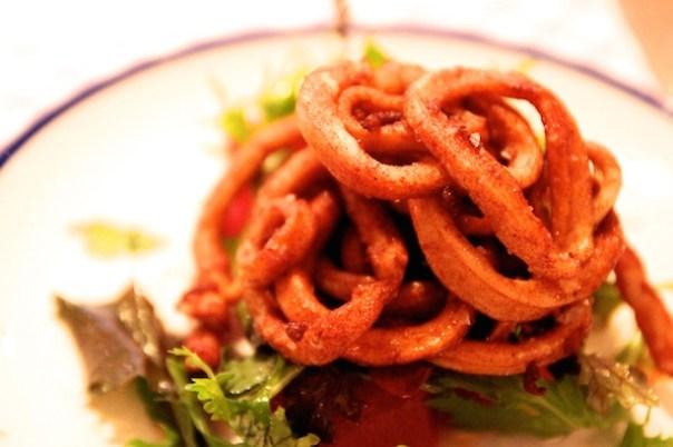 Deep Fried Paprika Channel Squid, Watermelon, Chilli, Secretts Farm Leaves - Bonnie Gull Seafood Cafe