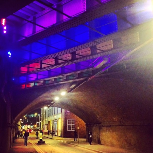 Brightly lit bridge in Bermondsey