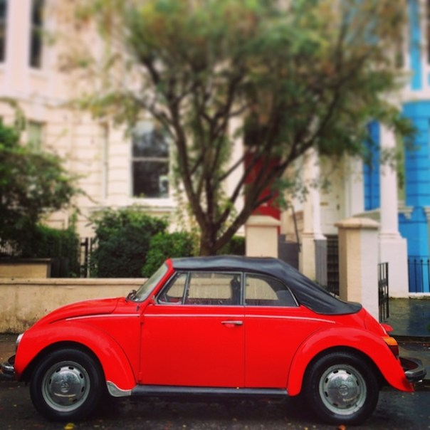 Red car in Notting Hill
