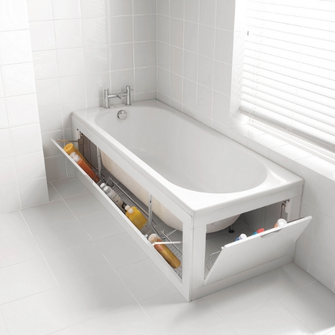 LOVE THIS - I have so many bottles of cleaner and bleach and bathroom paraphernalia... found on bathroomheaven.com
