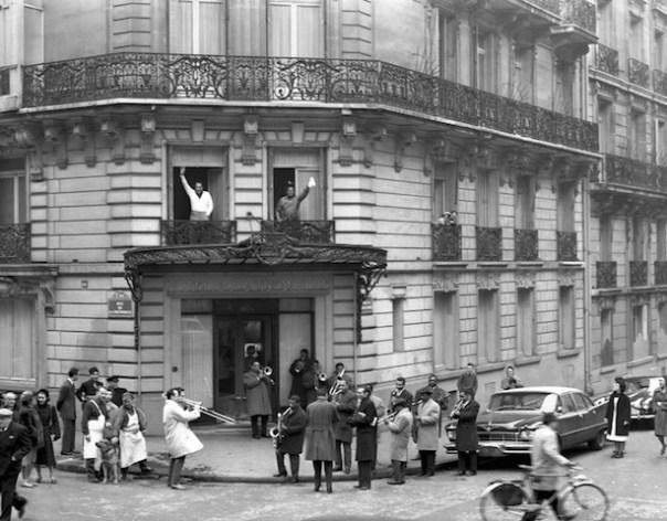 at Hotel de la Trémoille in 1961 - Duke Ellington and Louis ArmstrongFound on http://maison-du-duke.com