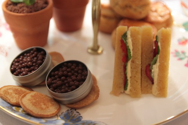 Chocolate caviar and Victoria Sponge cake sandwiches with blood orange and pink grapefruit jelly