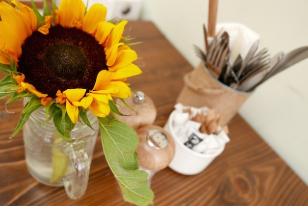 Sunflower on table
