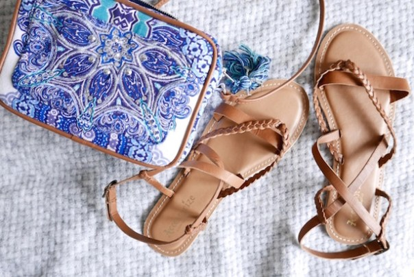 crossover bag and sandals