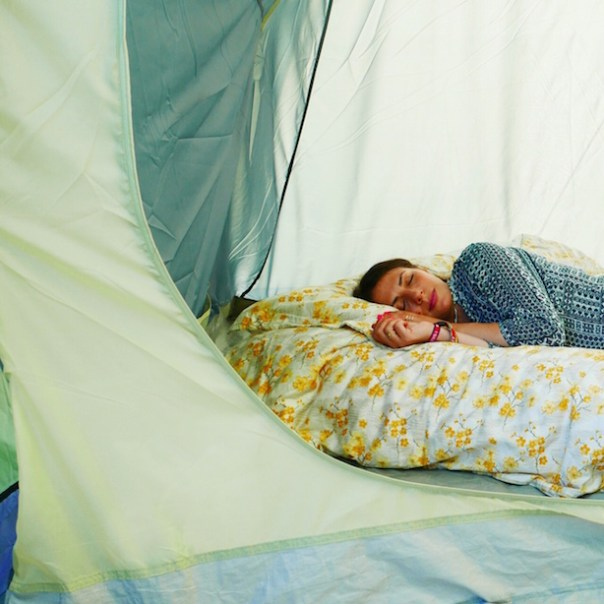 Having a little snooze in my tent...