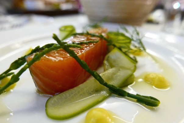 Jasmine Cured Salmon pickled cucumber, lemon puree