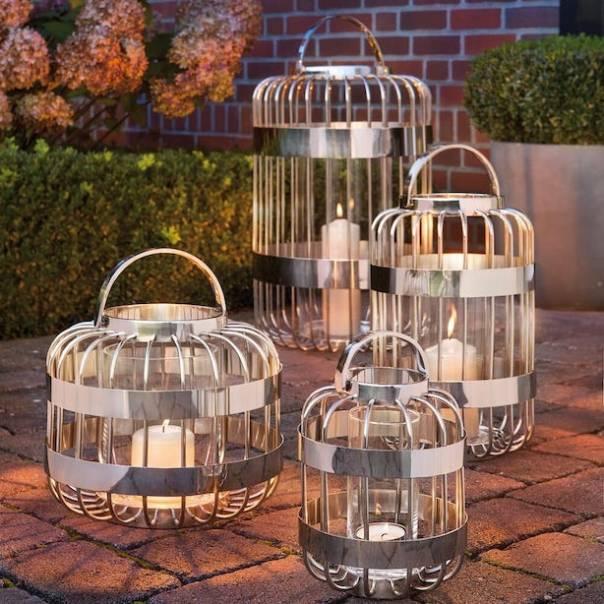 Striking Modern Stainless Steel Lantern Set