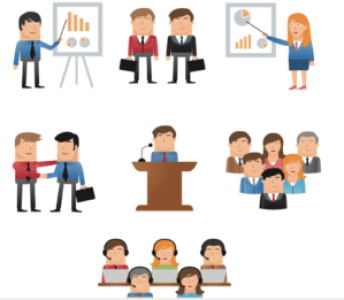 Image of business people working across the organization