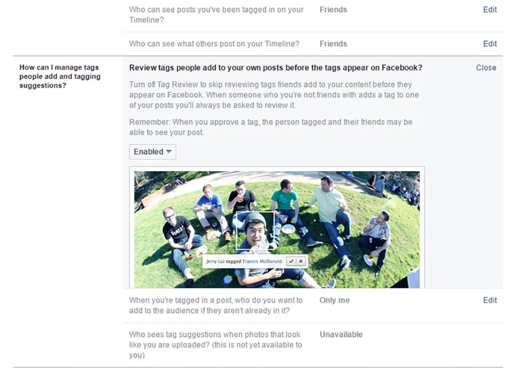 Facebook's tagging options on its security and privacy settings page