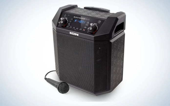Black portable outdoor speaker with a black mice