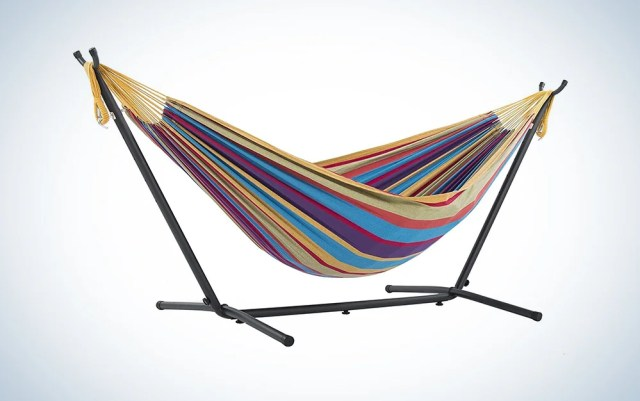 colorful hammock on a stand