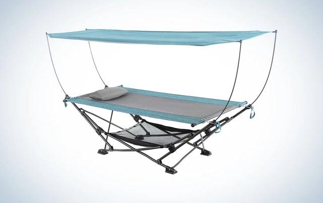 hammock with an overhead canopy
