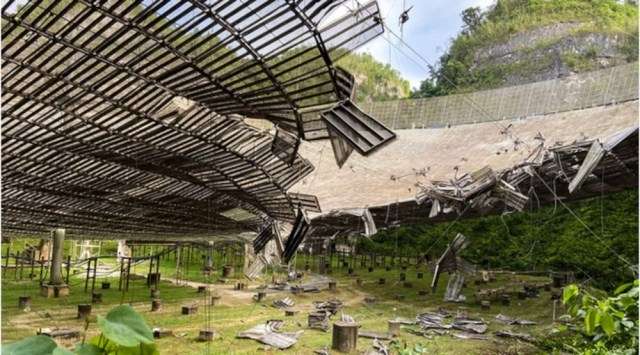The damage at the Puerto Rico Arecibo telescope seen from underneath