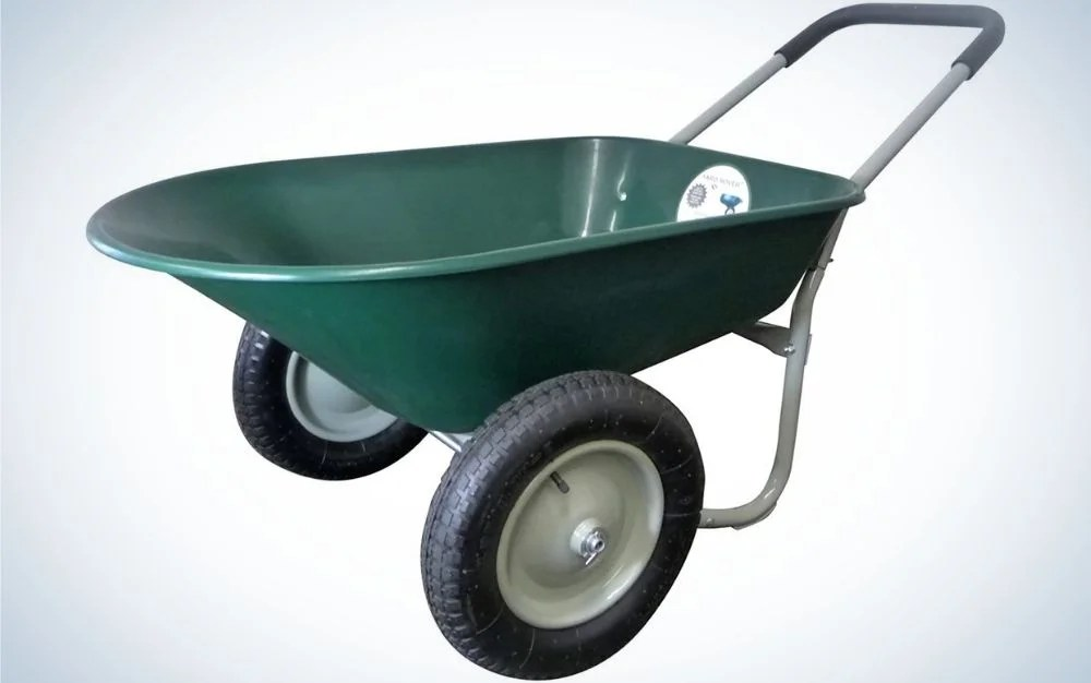 A small wheelbarrow in a green color with two black thin wheels.