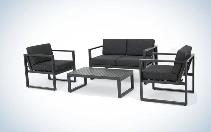 black outdoor furniture set