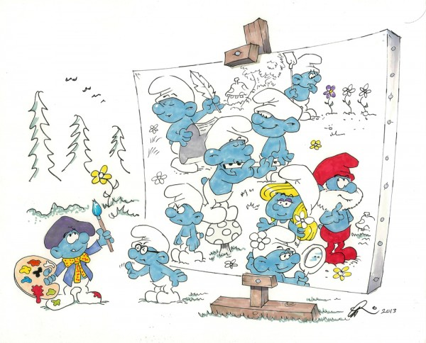 Painter Smurf Artwork by Gerard Baldwin | Smurfs Animator Gerard Baldwin