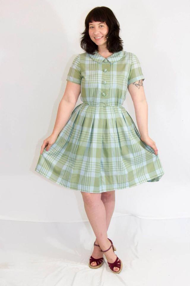 Vintage Green Peter Pan Collar Dress | Vida Antigua Vintage Houston TX | Mod Mid Century Clothes