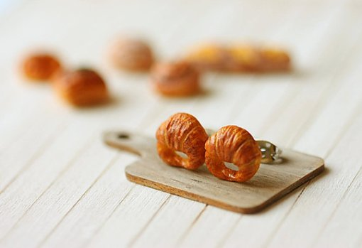 Croissant Stud Earrings 3 | Food Jewelry