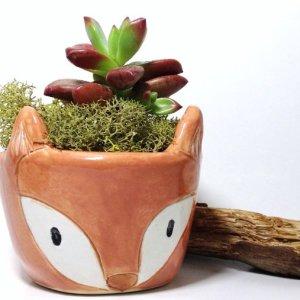 Fox Planter Handmade Ceramics   Cute Terrariums   Handmade Ceramics   Made in the USA