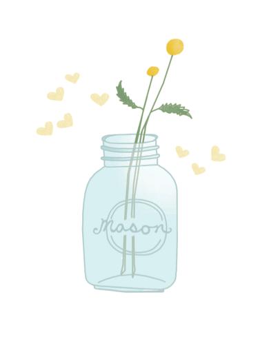 Mason Jar and Fireflies Drawing by Hazelmade | Cute Hand Drawn Greeting Cards by Hazelmade