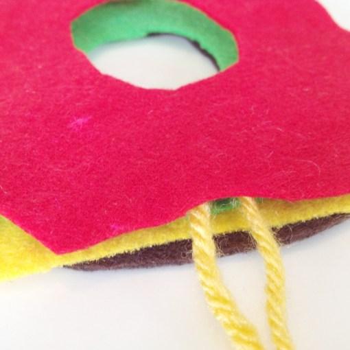 put the felt together | Stack the Felt Layers to Make a Burger Pom Pom | Make a Pom Pom Burger out of Yarn | Pop Shop America DIY Blog