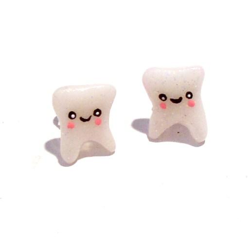 Little Tooth Stud Earrings | Kawaii Happy Teeth Earrings | Cute Stud Earrings