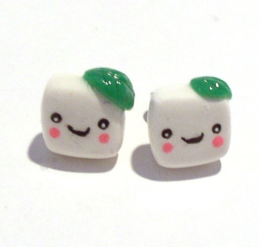 Tofu Stud Earrings Kawaii Jewelry by Komodokat   Cute Jewelry at Pop Shop America Online Shopping Website