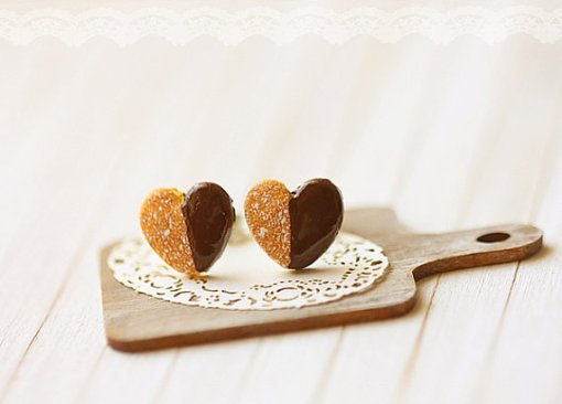 Heart Cookie Earrings   Shop these Small Stud Earrings at Pop Shop America   Cute Jewelry and lots of Fun Art for Sale on our Online Shopping Website