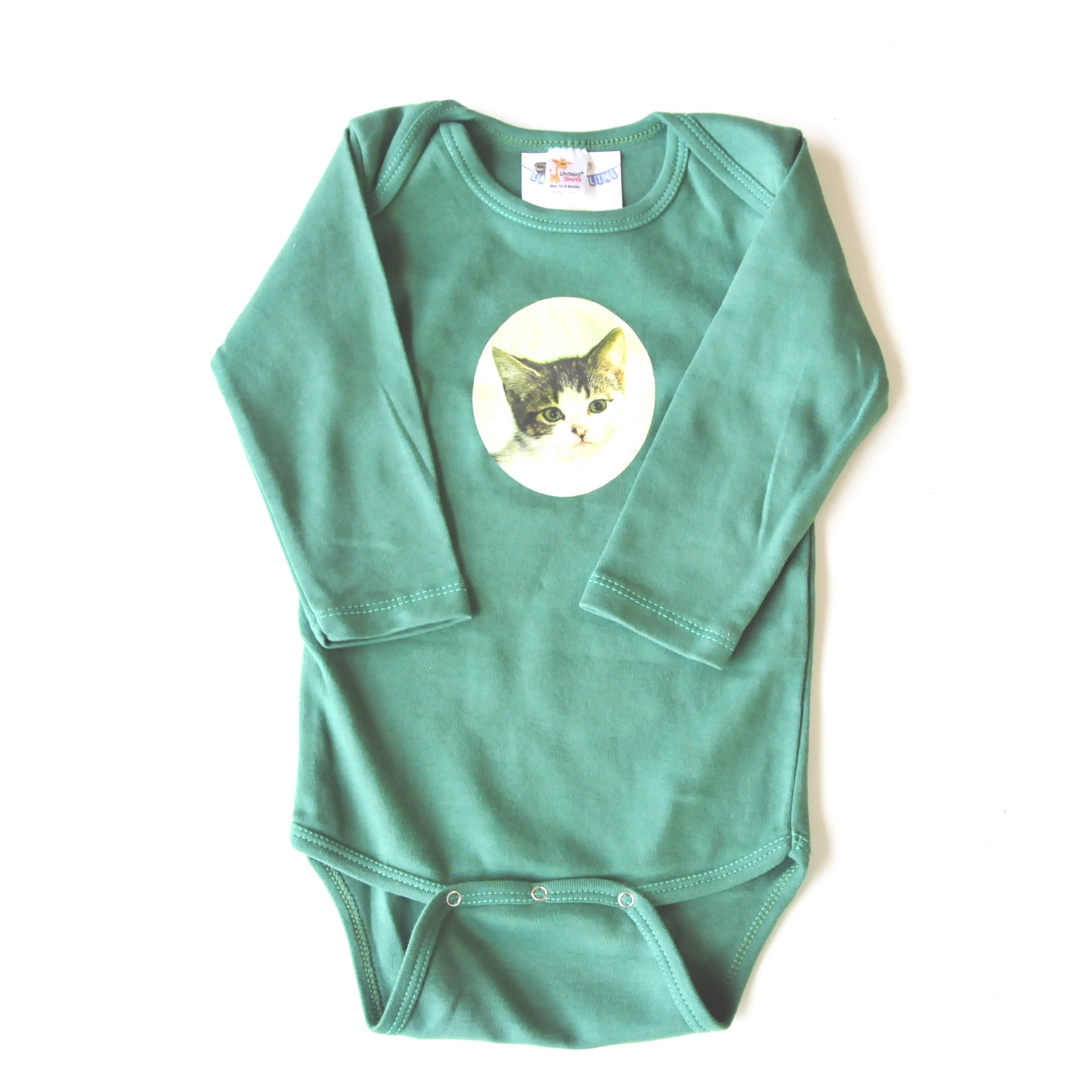 kitten onesie in green