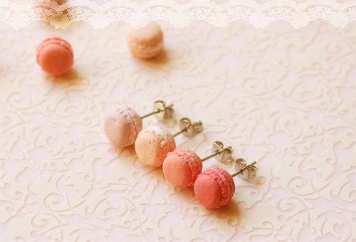 Pink Macaron Stud Earrings Handmade Food Jewelry Cute Jewelry
