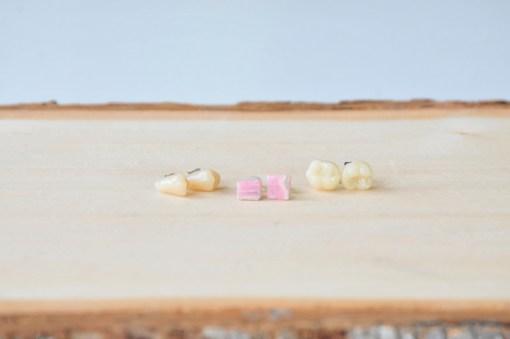 Rhodochrosite and Faux Teeth Detail Photo Shop Gemstone Earrings at Pop Shop America