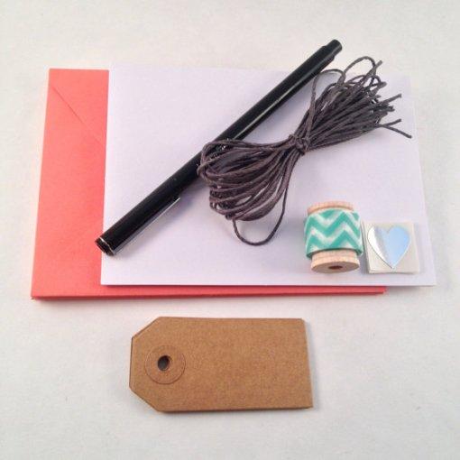 orange stationery kit handcrafted paper goods