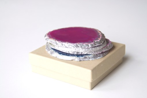 Agate Coaster Silver Gilded Crystal Coasters Shop Online at Pop Shop America