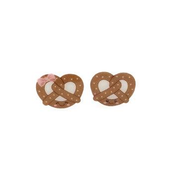 Kawaii Pretzel Shrinky Dink Earrings   Stud Earrings with Happy Face Pretzel   The Coolest Shrinky Dink Jewelry   Handmade Jewelry on Etsy