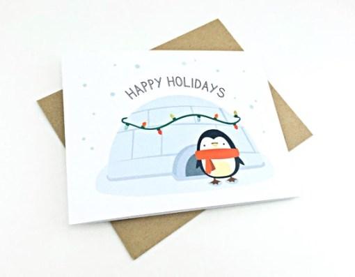 cute penguin holiday card   handmade cards by le trango   shop handmade goods at pop shop america