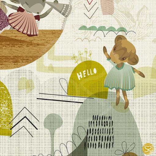 detail of explore print art for children   hello and waving cow   travel print for baby nursery   art for babies   shop at Pop Shop America