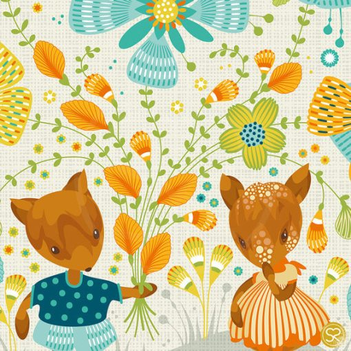 detail of someone loves you print   detail of deer and flowers   woodland creatures art   art by sabine reinhart
