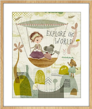 girl and mouse explore kids print floral art print   Modern Arts and Crafts available for purchase at Pop Shop America Online Boutique
