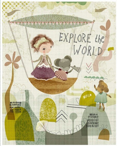 hot air balloon art print   Girl and Mouse Explore the World   art detail