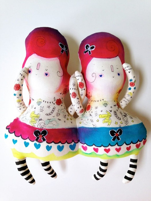 Alice in wonderland Handmade Plush Toys Tweedledee and Tweedledum