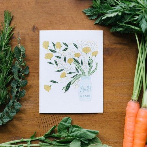 mason jar flower bouquet greeting card