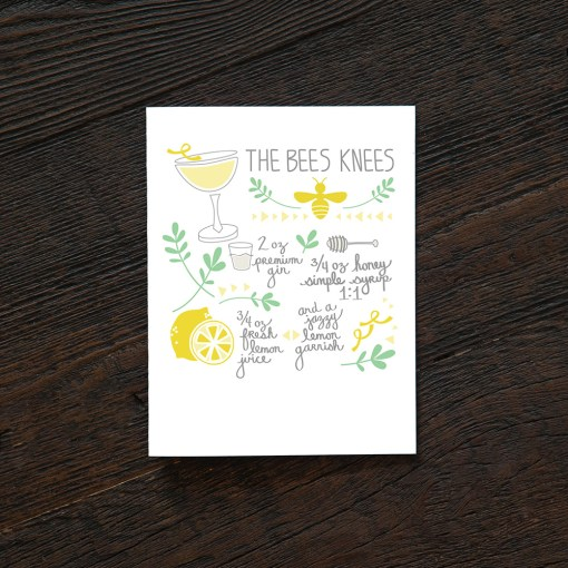 the bees knees cocktail card