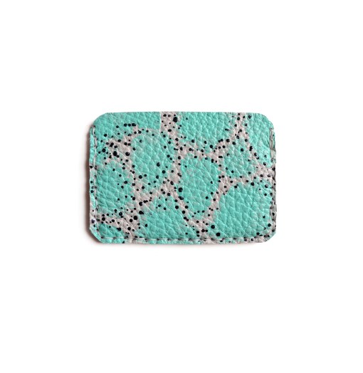 back of mint leather wallet abstract art wallet
