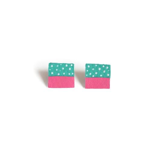 square stud earrings teal & pink leather earrings