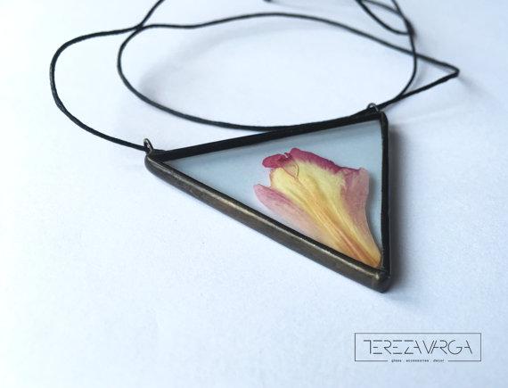 glass necklace with flowers handmade jewelry tereza varga