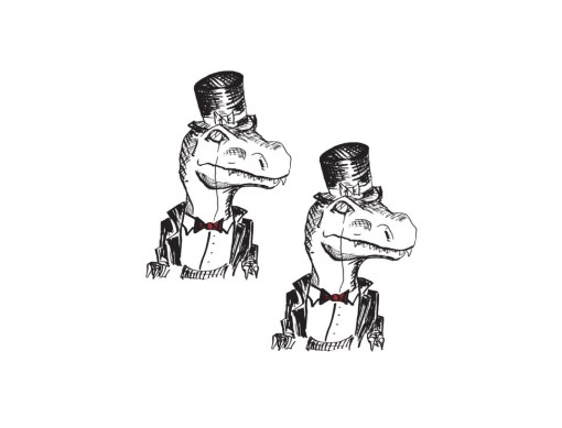 alligators in top hats temporary tattoos